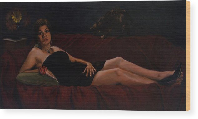 Art Wood Print featuring the painting Bella Donna by Joelle Circe