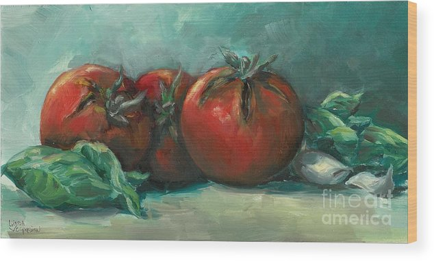 Tomatoes Wood Print featuring the painting Bruscetta by Linda Vespasian