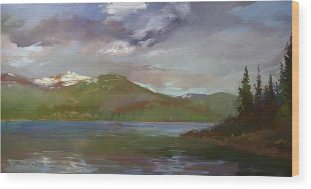 Murals Wood Print featuring the painting Chimney Rock At Priest Lake Plein Air by Betty Jean Billups