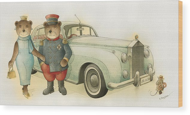 Bears Love Queen Limousine Rolls-royce Flirt Fashion Wood Print featuring the painting Florentius The Gardener08 by Kestutis Kasparavicius