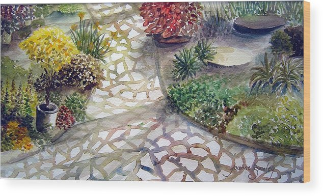 Garden Path Plants Wood Print featuring the painting Jennifers Garden by Joanne Smoley
