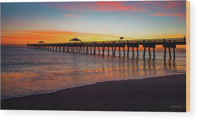 Delray Wood Print featuring the painting Juno Pier Colorful Sunrise Panoramic by Ken Figurski