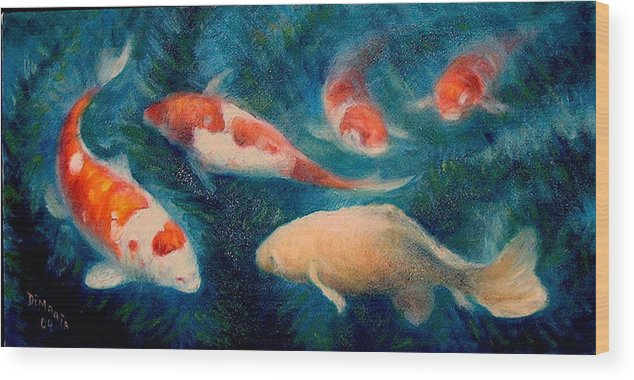 Realism Wood Print featuring the painting Koi Ballet 2 by Donelli DiMaria
