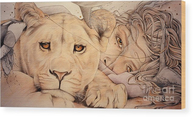 Lion Wood Print featuring the drawing Lyonesse by Johanna Pieterman