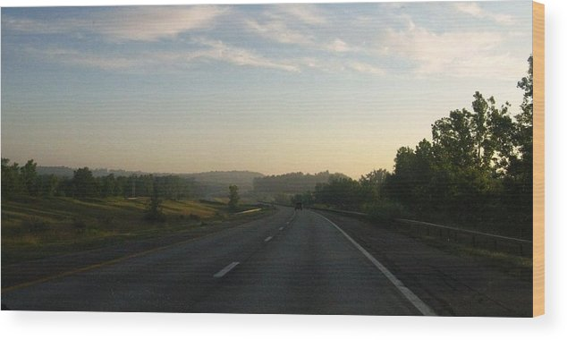 Landscape Wood Print featuring the photograph Morning Drive by Rhonda Barrett