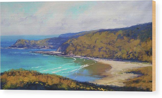 Nature Wood Print featuring the painting Munmorah Coastline Australia by Graham Gercken