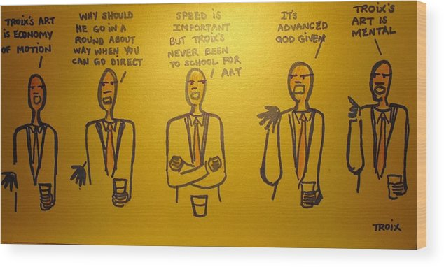 Cartoon Wood Print featuring the drawing New York Art Critic's by Troix Johnson