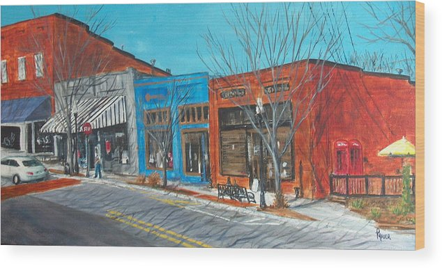 Townscape Wood Print featuring the painting Paintin The Town by Pete Maier