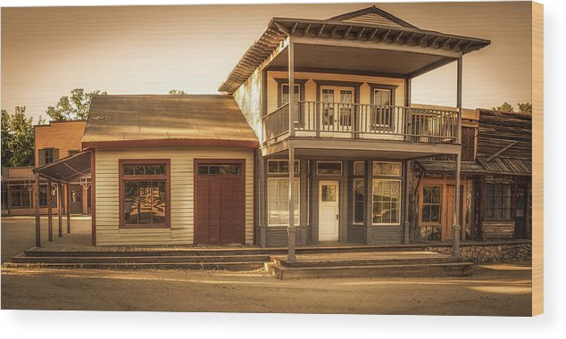 Ghost Town Wood Print featuring the photograph Paramount Ranch Agoura Hotel - Panorama by Gene Parks