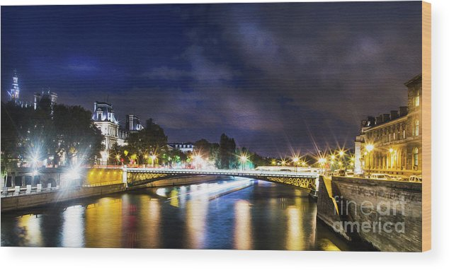 Paris Wood Print featuring the photograph Paris At Night 23 by Alex Art and Photo