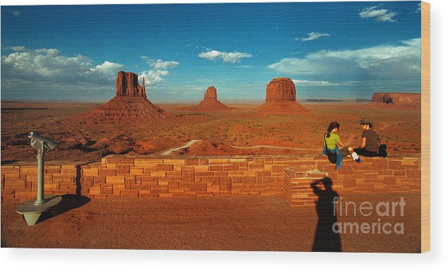 Landscape National Park People Blue Sky Red Rock Cloud Wood Print featuring the photograph Relax At Mounment Park by Ty Lee