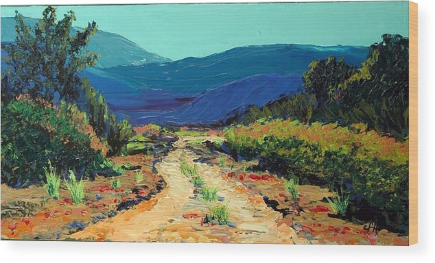Landscape Wood Print featuring the painting Road Home by Cathy Fuchs-Holman
