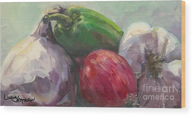 Vegetable Wood Print featuring the painting Salsa by Linda Vespasian