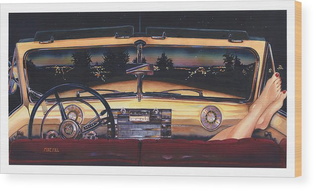 1948 Buick Roadmaster Convertable Car Automobile Feet Pedicure Night Skyline Parking Make Out Love Wood Print featuring the painting That Night On Walters Hill by Mike Hill