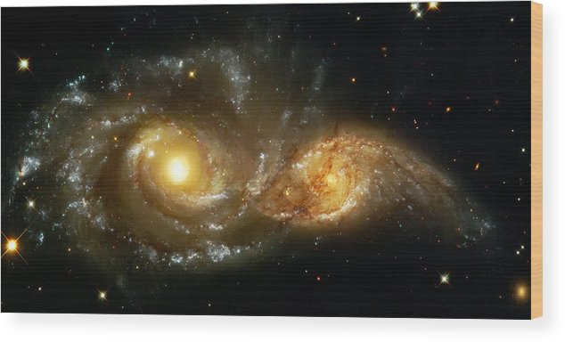 Nebula Wood Print featuring the photograph Two Spiral Galaxies by Jennifer Rondinelli Reilly - Fine Art Photography