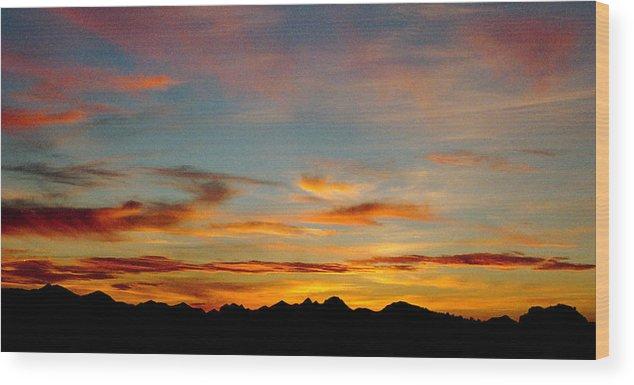 Arizona Sunset Wood Print featuring the photograph Usery Sunset by Randy Oberg
