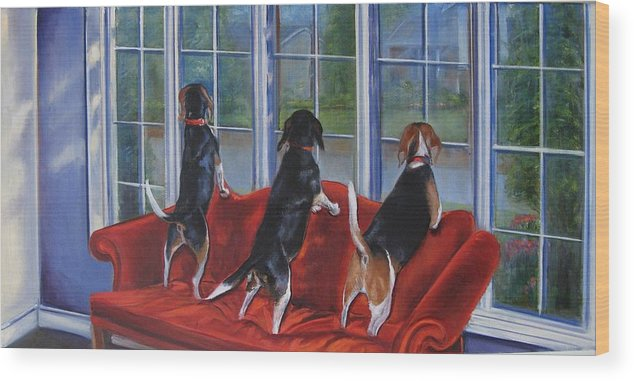Dogs Wood Print featuring the painting Waiting For... by Yvonne Dagger