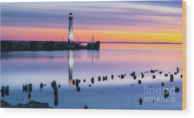 Beacon Wood Print featuring the photograph Wawatam Lighthouse In Colorful Predawn Light by James Brey