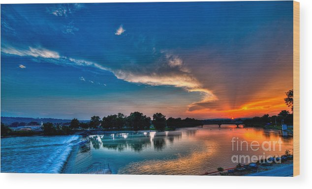 Sunset Wood Print featuring the photograph White River Sunset by Clayton Cavaness