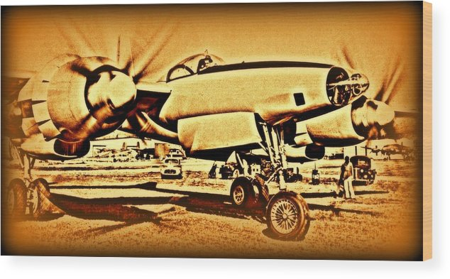 3202 Wood Print featuring the photograph  Howard Hughes And The Hughes Xf-11 by Hank Clark