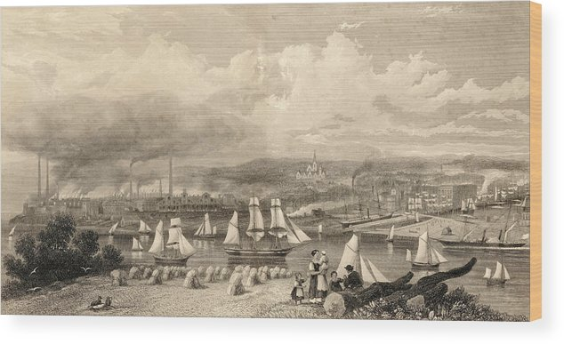 Industry Wood Print featuring the drawing The Haematite Ironworks, Barrow by Mary Evans Picture Library