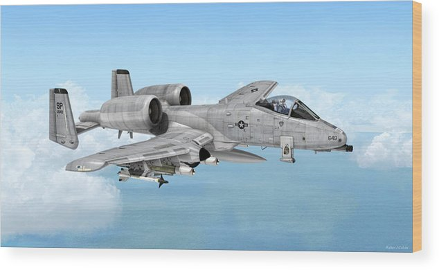 A-10 Wood Print featuring the digital art Fairchild A-10 Thunderbolt by Walter Colvin