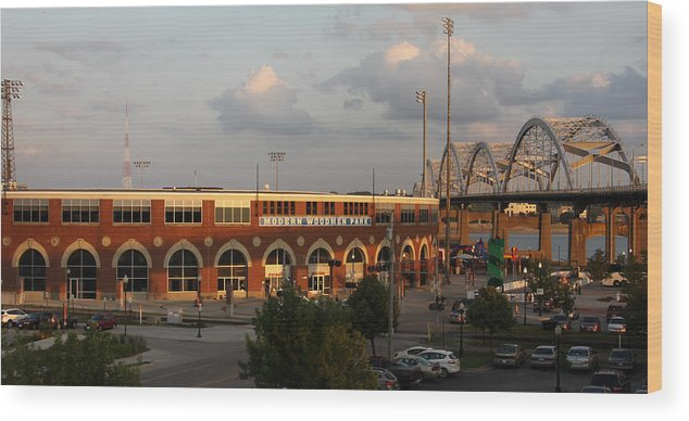 Modern Woodmen Ball Park Photographs Wood Print featuring the photograph Modern Woodmen Stadium And Centennial Bridge by Heidi Brandt