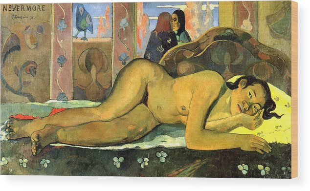 Paul Gauguin Wood Print featuring the painting Nevermore.o Taiti by Paul Gauguin