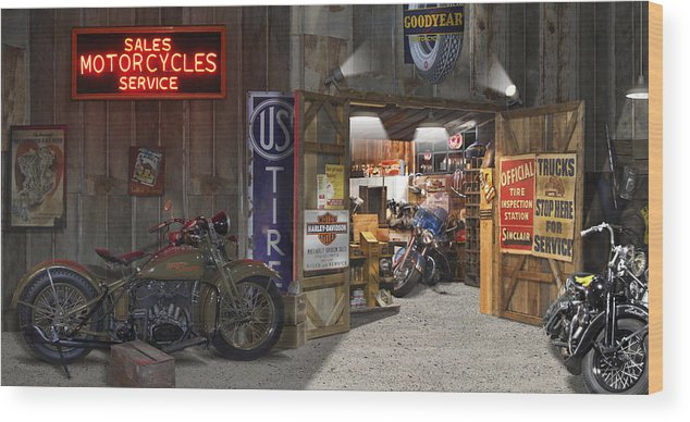 Motorcycle Shop Wood Print featuring the photograph Outside The Motorcycle Shop by Mike McGlothlen
