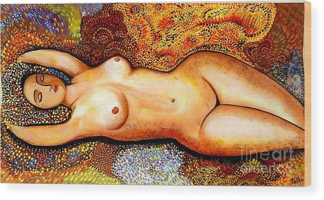 Sleeping Wood Print featuring the painting Sleeping Beauty by Tatiana Tatti Lobanova