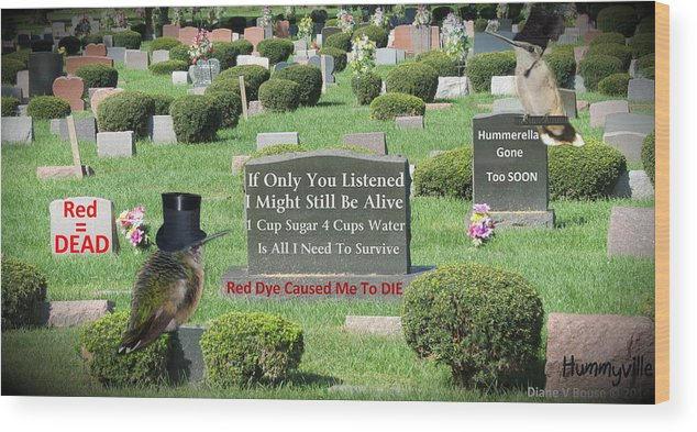 Art Wood Print featuring the digital art St. Red Dye Cemetery by Diane V Bouse