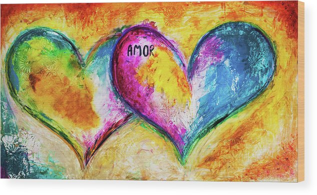 Heart Wood Print featuring the painting Amor Amor by Ivan Guaderrama
