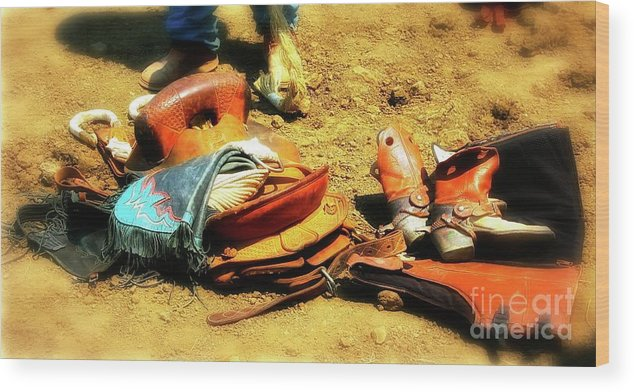 Rodeo Wood Print featuring the photograph Cowboys Traps by Gus McCrea