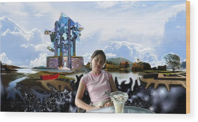 Spacem Maine Wood Print featuring the digital art Emma's Afternoon Snack by Dave Martsolf