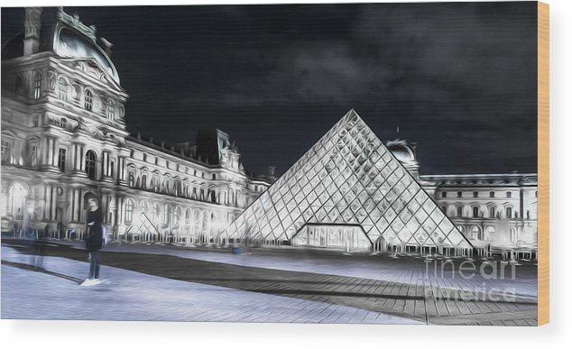 Paris Wood Print featuring the photograph Ghosts Of The Louvre Museum Art by Alex Art and Photo