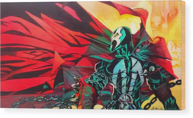 Spawn Wood Print featuring the painting Hell Of A Day by Jason Majiq Holmes