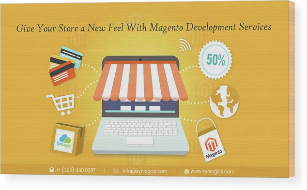 Magento Wood Print featuring the digital art Magento Development Services In Usa by SynLogics Inc