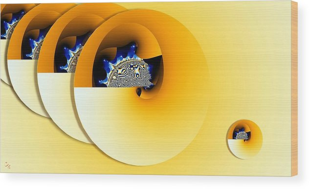 Abstract Wood Print featuring the digital art Moons by Ron Bissett