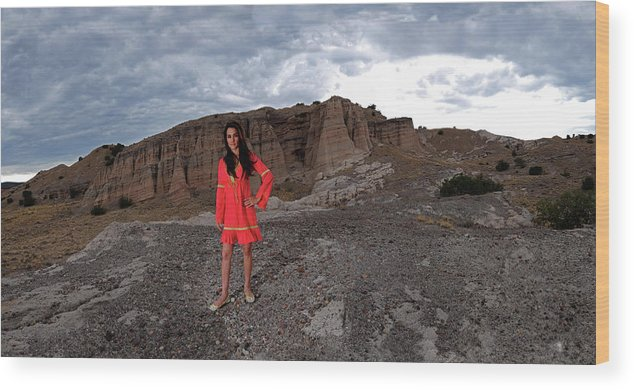 Girl On Mountain Wood Print featuring the photograph New Mexico Princess by Dale Davis