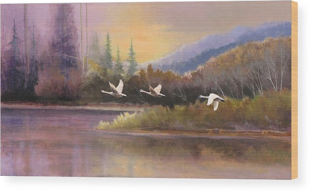Landscape Wood Print featuring the painting Northern Flight by Dalas Klein