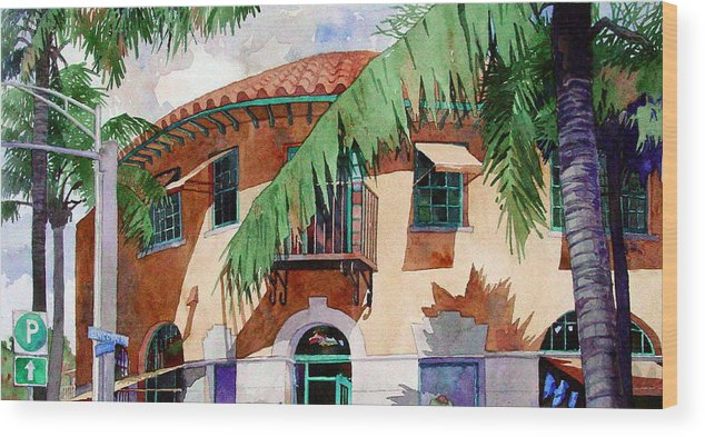 Watercolor Wood Print featuring the painting Palm And Deco by Mick Williams