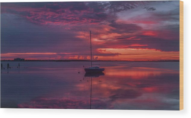 Dunedin Marina Wood Print featuring the photograph Purple Rain by Todd Rogers