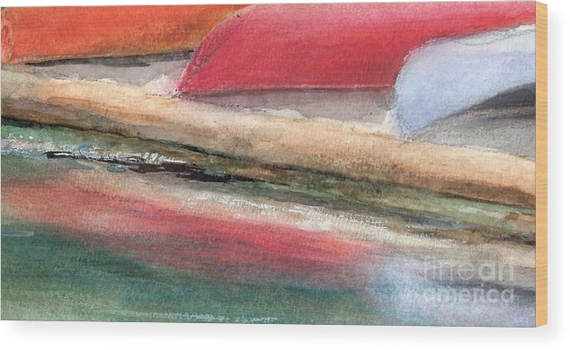 Boats Wood Print featuring the painting Reflections by Vivian Mosley