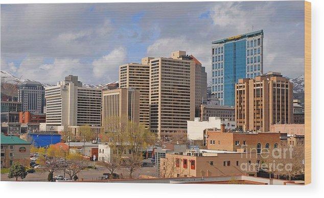 Salt Lake City Wood Print featuring the photograph Salt Lake City by Dennis Hammer