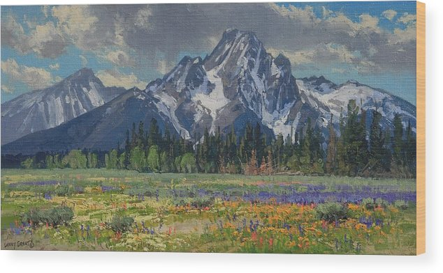Landscape Wood Print featuring the painting Spring In Wyoming by Lanny Grant