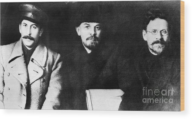1919 Wood Print featuring the photograph Stalin, Lenin & Trotsky by Granger