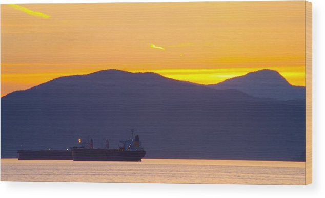Vancouver Wood Print featuring the photograph Sunset And Tanker by Paul Kloschinsky