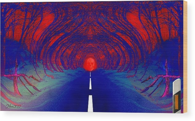 Street Wood Print featuring the digital art The Blue Avenue by Helmut Rottler