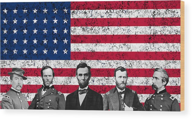 Abraham Lincoln Wood Print featuring the mixed media Union Heroes And The American Flag by War Is Hell Store
