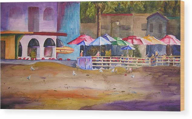 Umbrella Wood Print featuring the painting Zelda's Umbrellas by Karen Stark